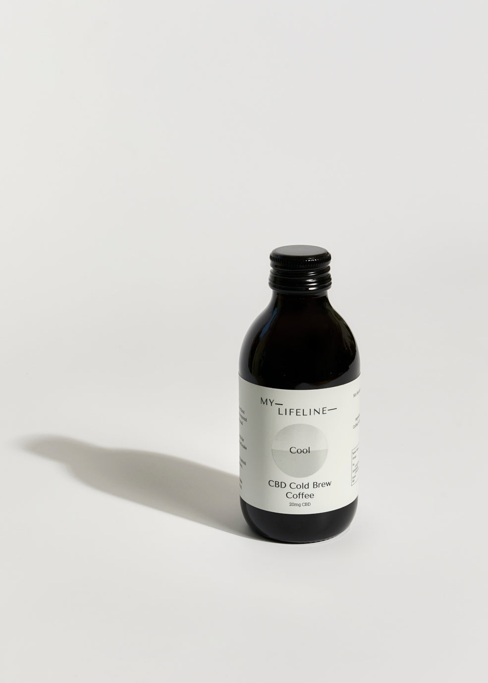 Cold brew coffee bottle on a white background