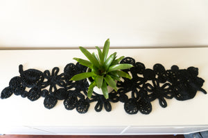 Leaf & Flower Table Runner - Black