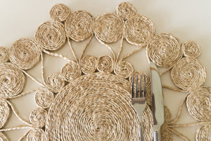 Our round placemats are handwoven from jute to add that understated chic beach vibe to your dinner sets.  Jute placemat. Table Mat. Natural placemat.