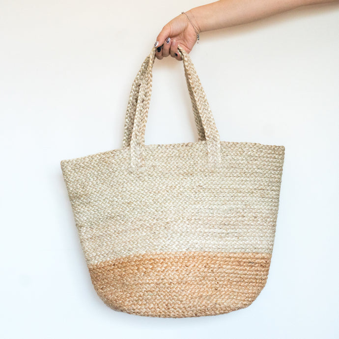 Two Tone Braided Jute Tote