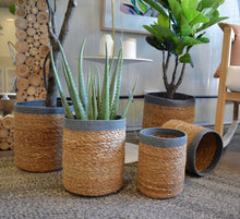 handwoven eco-friendly baskets. planters. storage basket. wicker basket. grey braided basket. natural jute basket.