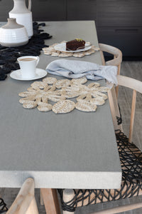 Our flower placemats are handwoven from jute to add that understated chic beach vibe to your dinner sets.  Jute placemat. Table Mat. Natural flower placemat. Woven placemat.