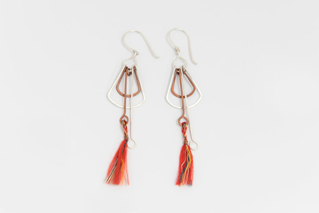Deco Silver/Copper Earrings