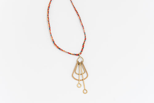 Deco Brass Pendant Necklace