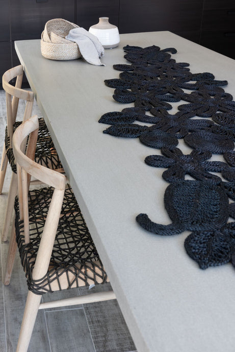Our intricately handmade jute table runners can dress up any table top. macrame table runner. Natural macrame table runner. Neutral table runner. Floral table runner. Flower and leaf table runner.