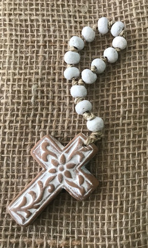 Ivy Rosary Cross Small
