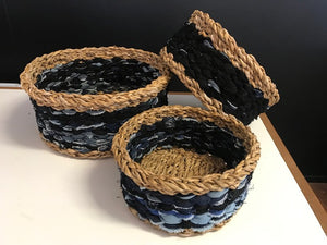 handwoven eco-friendly baskets. storage basket. wicker basket. braided basket. natural round basket. seagrass basket. Recycled denim basket