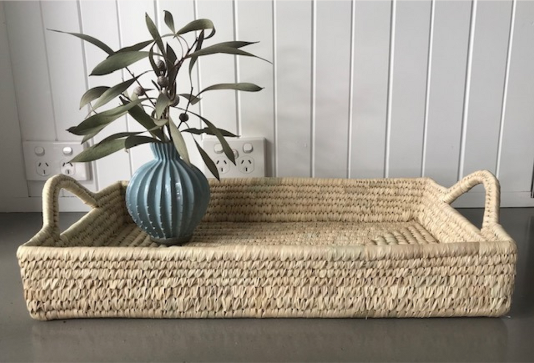 Seagrass serving tray. Rectangular serving tray. Breakfast serving tray. Woven tray. Side table tray. Display tray.