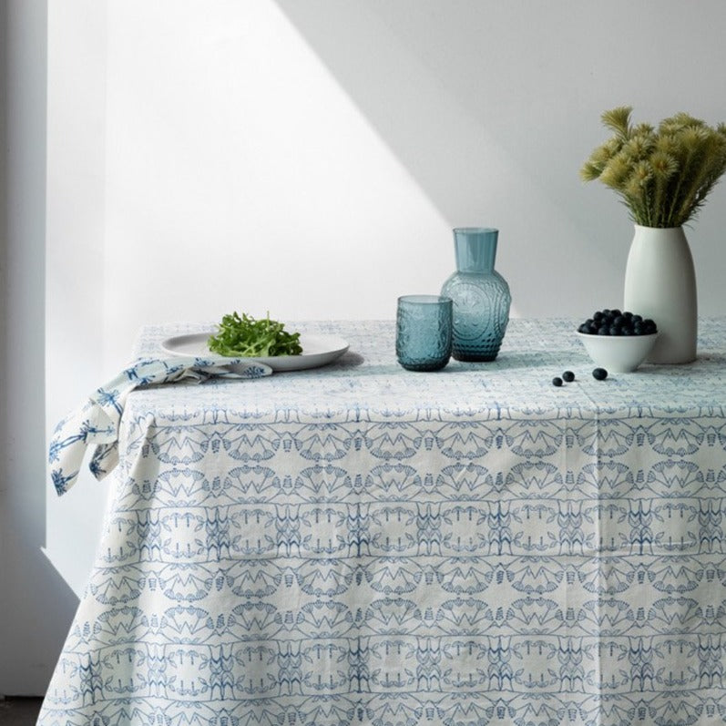 Enchanted Forest Organic Cotton Tablecloth in Blue
