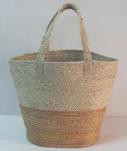 Handwoven braided bag. Neutral woven bag. Natural woven bag. Beige jute bag. Braided jute tote. Two tone jute tote.