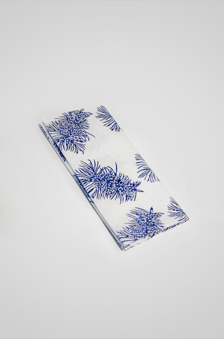 Bottlebrush Organic Cotton Napkin Set in Blue