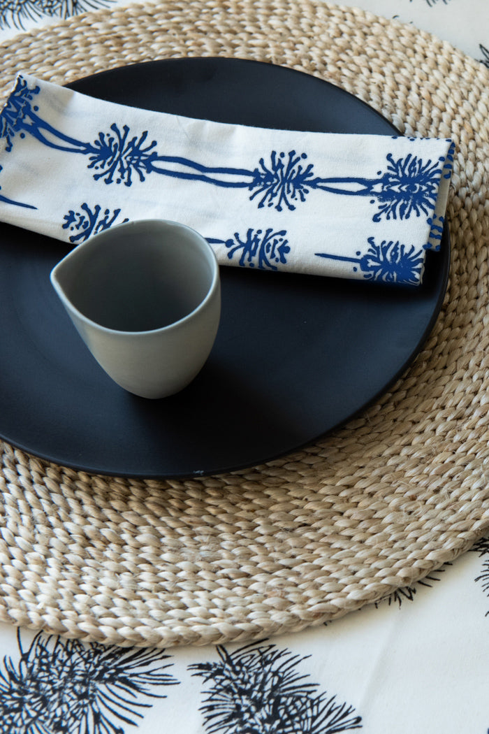 Wattle Organic Cotton Napkin Set in Blue