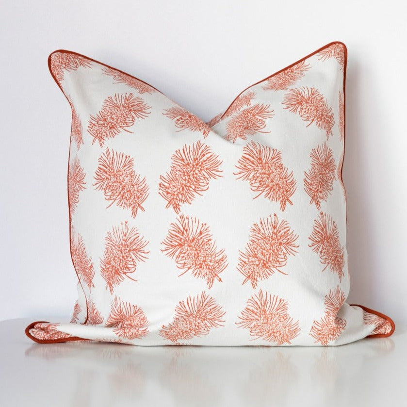 Bottlebrush Organic Cotton Cushion in Ochre