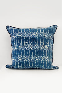 Deco Organic Cotton Cushion in Indigo