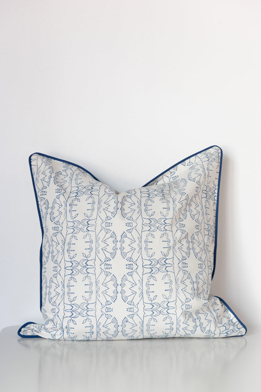 Enchanted Forest Organic Cotton Cushion in Blue
