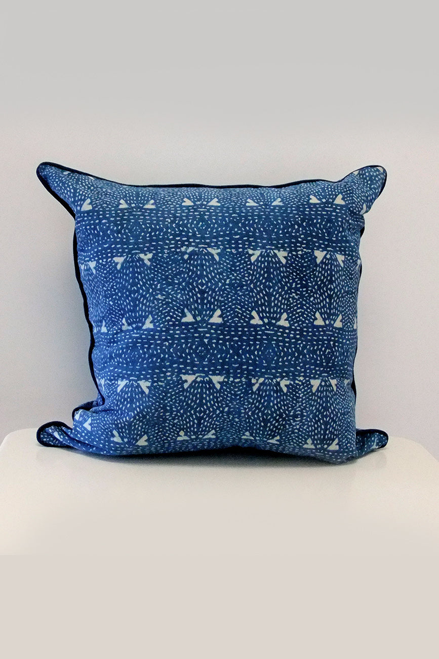 Kantha Organic Cotton Cushion in Indigo