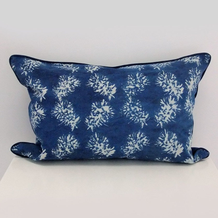 Bottlebrush Rectangle Organic Cotton Cushion in Indigo