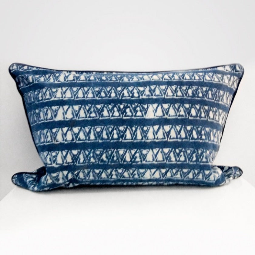 Mykonos Rectangle Organic Cotton Cushion in Indigo