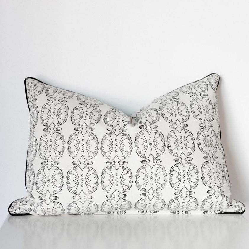 Wildflower Rectangle Organic Cotton Cushion in Black