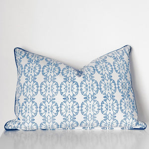 Wildflower Rectangle Organic Cotton Cushion in Blue