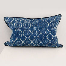 Wildflower Rectangle Organic Cotton Cushion in Indigo