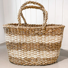 Braided Seagrass & Jute Striped Basket White