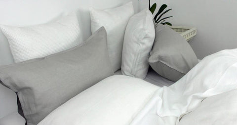 White Linen Sheet Set with Grey Linen Quilt Cover Set
