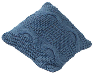 Brighton Hand Knitted Cushion Covers in Indigo Blue, 100% Eco Cotton in Small and European Cushion Sizes | Ecodownunder