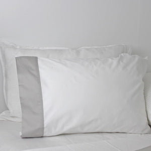 Hamilton Collection Standard Size Pillowcase Pair, White with a Soft Grey Cuff | Ecodownunder