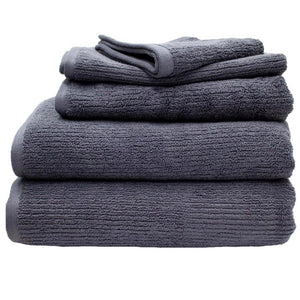 Whitehaven ribbed organic cotton bath towels in graphite | ecodownunder