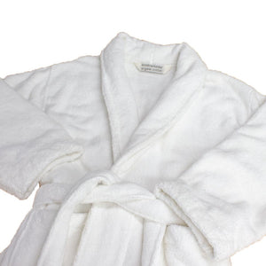 Luxury Organic Cotton Bath Robe, white super plush finish | Ecodownunder