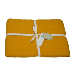 Ochre  Linen Fitted Sheets | Ecodownunder