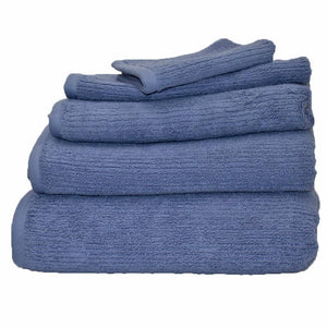 Whitehaven ribbed organic cotton bath towels in reef blue | ecodownunder