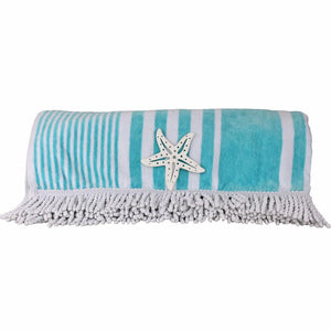 Organic Cotton Beach Towel, Large Grey and White Striped with Tassels | Ecodownunder