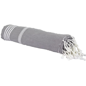 Organic Cotton Turkish Style Towel, Graphite Grey with White stripes, very light and quick drying, great for travel | Ecodownunder