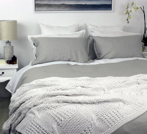 Linen Quilt Cover Set in Cool Grey Queen Bed, King Bed and Super King Bed | Ecodownunder