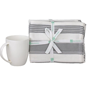 Pebble Grey Plain and Striped Eco Cotton Kitchen Towels, Tea Towels in packs of 4 | Ecodownunder