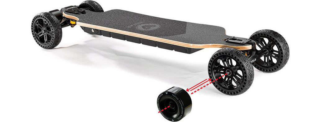 All Terrain electric skateboard vestar blackhawk 2in1