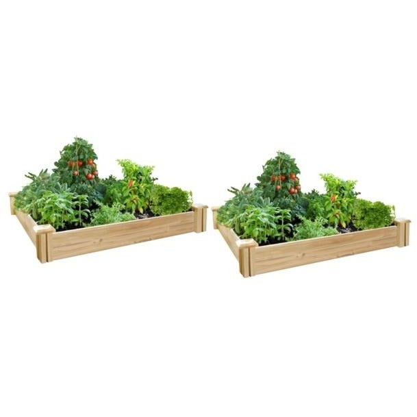 Original Cedar Raised Garden Bed with Old Style Post 4 ft x 4 ft x 7 in (2 Pack) RC4C4X2