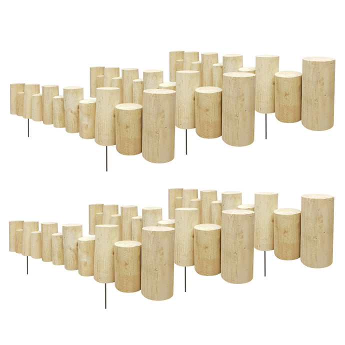 Pressure Treated Wooden Full Log Staggered Lawn Edging 3 ft x 7 in (6 Pack) RC47T-6C