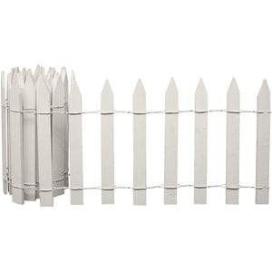 White Wooden Garden Picket Fence 8 ft x 16 in RC28W in use