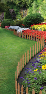 Brown Wooden Trim Fence RC24B in useBrown Wooden Garden Picket Fence 12 ft x 16 in RC24B in use