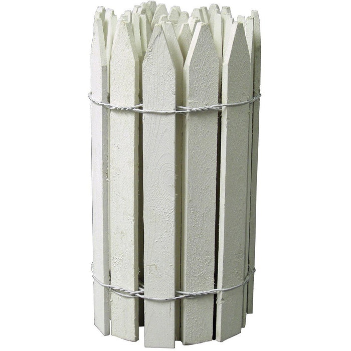 White Wooden Garden Picket Fence 12 ft x 16 in RC24W