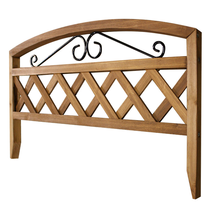Lattice Picket Border Fence with Iron Scroll 17.75 in x 15.25 in RC573