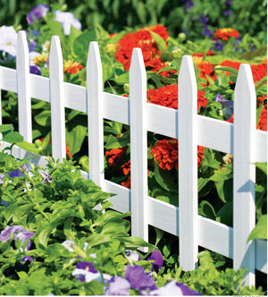 White Wooden Garden Picket Fence 36 in x 18 in RC74W in use