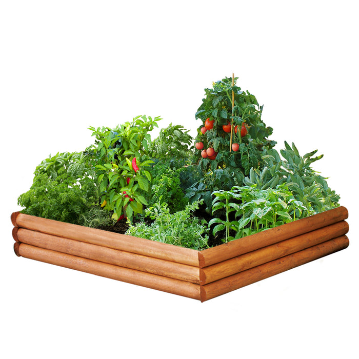 Log Style Raised Garden Bed 4 ft x 4 ft x 9 in RC4RB4
