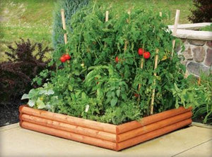 Log Style Raised Garden Bed 4 ft x 4 ft x 9 in RC4RB4 planted