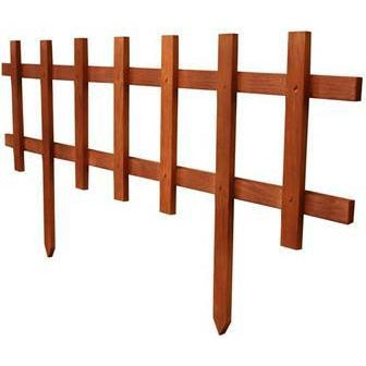 Small Deluxe Picket Fence - Brown (12 Pack)