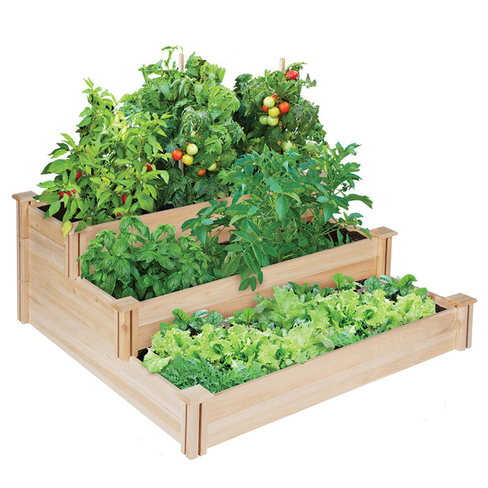 Original Cedar Raised Garden Bed 3-Tier 4 ft x 4 ft RC4T3