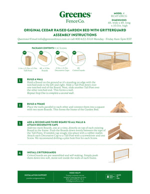 Original Cedar Raised Garden Bed with CritterGuard Cedar Fence System 4 ft x 4 ft x 10.5 in RC4T12BCG